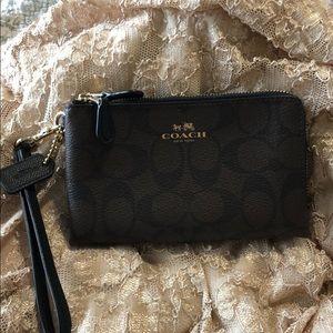 Coach brown wristlet/wallet